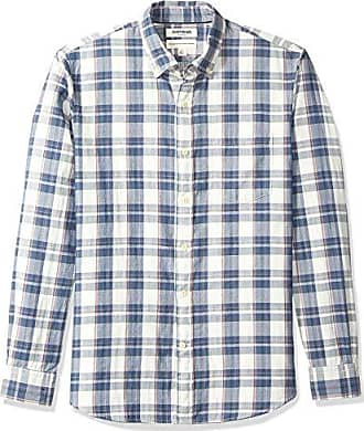 Goodthreads Mens Standard-Fit Long-Sleeve Doubleface Shirt, Denim Plaid, X-Small