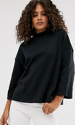 Asos Tall ASOS DESIGN Tall funnel neck oversized 3/4 sleeve top in black