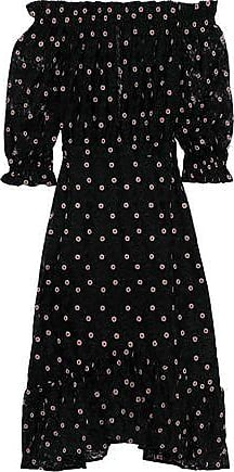 Saloni Saloni Woman Grace Off-the-shoulder Embroidered Tulle Dress Black Size 6