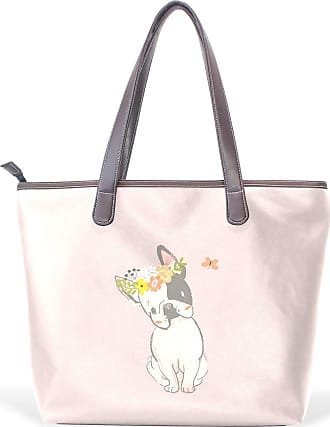 NaiiaN Tote Bag Light Weight Strap Shoulder Bags Handbags Leather Bulldog Play Butterfly Animal Mermaid Purse Shopping for Women Girls Ladies Student