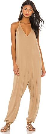 bobi Draped Modal Jersey Jumpsuit in Brown
