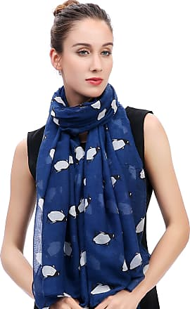 Lina & Lily Penguin Print Womens Scarf Oversized (Blue)(Size: One Size)