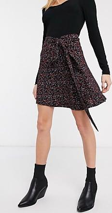Whistles star flower print wrap skirt in black
