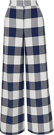 Roland Mouret Delano Checked Cotton-blend Bouclé Wide-leg Pants - Navy
