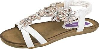 Lora Dora Womens Diamante Flower Sandals White UK 6