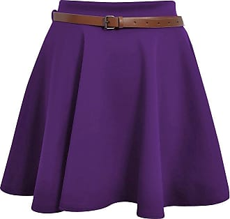 ZEE FASHION Skater Belted Stretch Waist Plain Flippy Flared Jersey Short Skirt Womens Size 8-22 Purple