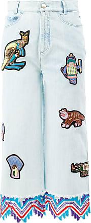 Peter Pilotto Calça jeans cropped com patches - Azul