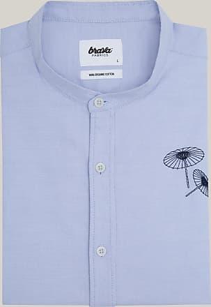 Brava Fabrics Camisa Essential - Camisa Manga Larga para Hombre - 100% Algodón Orgánico - Modelo Osaka Parasol