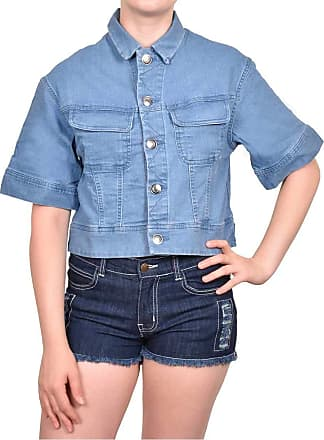 True Face Ladies Denim Jacket Casual Button Front Stretch Trendy Stylish Cropped Top Light Blue Large