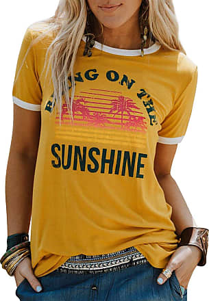 Dresswel Nlife Women Casual Bring On The Sunshine Letter Print Dri-Fit T-Shirt Women Short Sleeve T-Shirt Tops Yellow