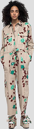 Msgm flower pattern jumpsuit in cotton