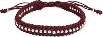 Novica Silver accent wristband bracelet, Burgundy Knots