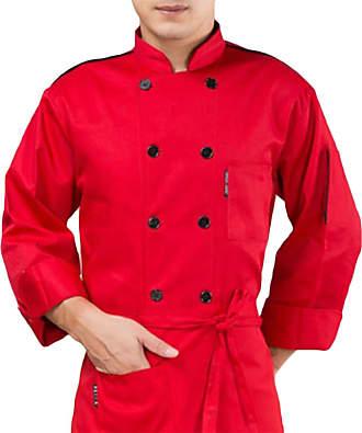 H&E Unisex Uniform Kitchen Restaurant Long Sleeve Catering Chef Coat Red L