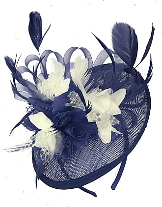 Caprilite Navy Blue and Cream Ivory Sinamay Disc Saucer Fascinator Hat for Women Weddings Headband