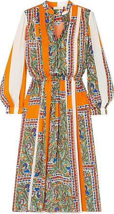 9aec77c762 Tory Burch Pleated Printed Voile Midi Dress - Orange