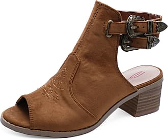 c22baf4efb0 Dolcis Ladies Debra Tan Peep-Toe Cowboy Ankle Faux Suede Boot Shoes Sizes 3-