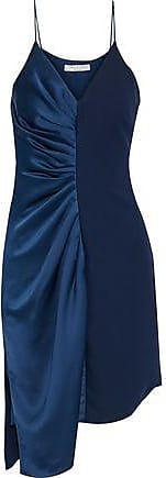 Halston Heritage Halston Heritage Woman Asymmetric Ruched Satin And Crepe Dress Navy Size 10