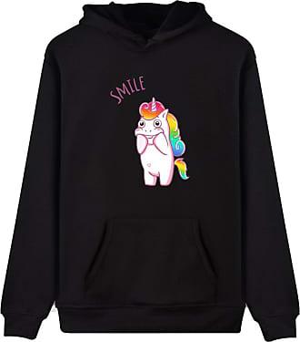 EUDOLAH Womens Hoodie Funny Cartoon Unicorn Print Sweatshirt Top (Black Smile L)