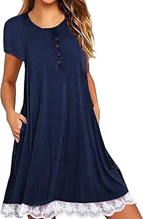 FNKDOR Womens Summer Casual Solid Lace Stitching Long Sleeve Cotton Holiday T Shirt Dress with Pockets(A-Blue,M)