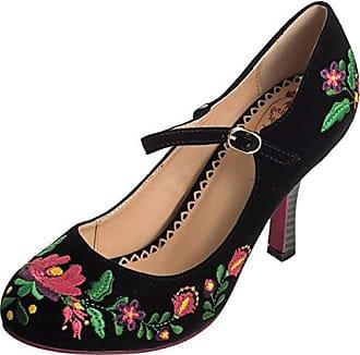 Dancing Days Damen Schuhe Kalocsai Punkte Vintage Pumps Geschlossen (38 EU,  Schwarz mit Gestickten 7625003636