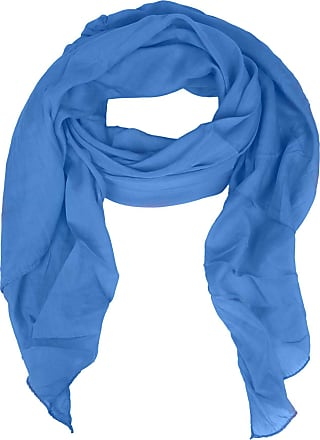 Zwillingsherz silk scarf for women, girls, plain elegant accessory/cotton/silk scarf/neck scarf/shoulder scarf or shawl. - Blue - One size