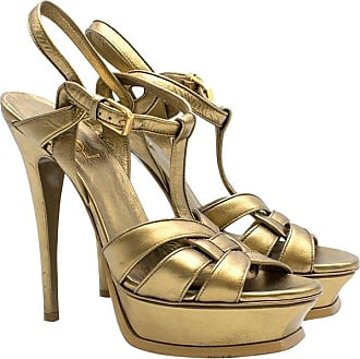 4cf08ab46f0e Saint Laurent Saint Laurent Tribute Gold Leather Platform Sandals Us 7