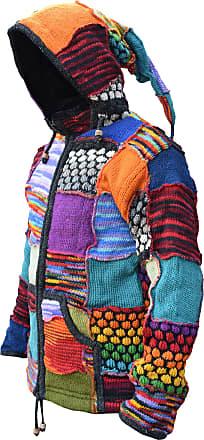 Gheri Little Kathmandu Woolen Bubble Knit Patch Pixie Hood Fleece Lined Jacket, Multicoloured, S
