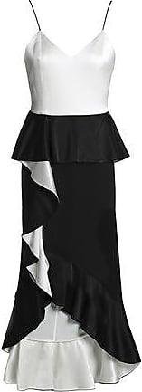 Alice & Olivia Alice + Olivia Woman Ruffled Two-tone Satin-crepe Peplum Midi Dress Black Size 12