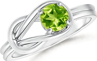 Angara Valentine Day Sale - Solitaire Peridot Infinity Knot Ring
