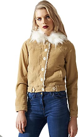 Shelikes Womens Vintage Detachable Fur Padded Collar Sand Cotton Corduroy Jacket Coat_Sand_8