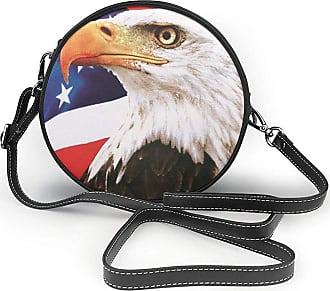 Turfed American Eagle Print Fashion Round PU Crossbody Handbag Round Shoulder Bag For Women Girls