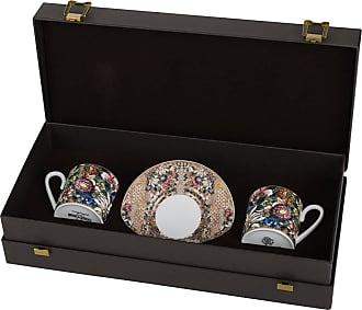 Roberto Cavalli Golden Flowers Coffee Cup & Saucer - Set of 2 - Luxury Gift Box