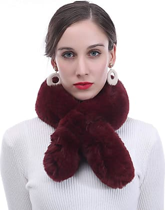 Lina & Lily Faux Fur Womens Winter Neck Scarf Fluffy (Maroon)