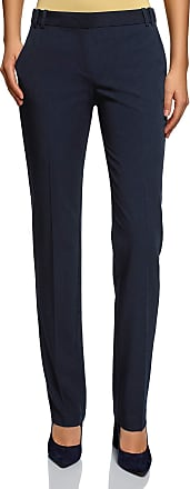 oodji Collection Womens Classic Pleated Trousers, Blue, UK 16 / EU 46 / XXL