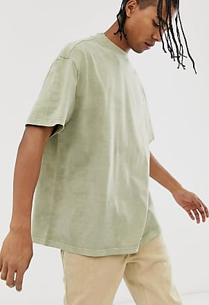 Weekday Great - T-Shirt in hellem Khaki und in Batikoptik-Grün