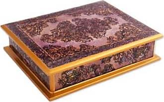 Novica Revers painted glass decorative box, Colonial Vine in Purple