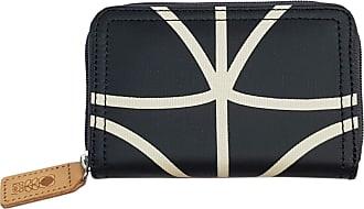Orla Kiely 0ETCLIN360 Womens Giant Linear Stem Medium Zip Wallet Liquorice and Cream