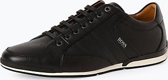 HUGO BOSS Herren Sneaker aus Leder - Saturn_lowp_tbpf1 schwarz