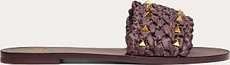 Valentino Garavani Valentino Garavani Rockstud Flair Raffia Flat Slide Sandal Women Rubin Viscose 100% 38