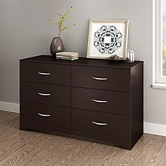 South Shore Furniture Step One 6-Drawer Double Dresser, Chocolate with Matte Nickel Handles