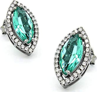 Royalz Brinco Royalz Semi Joia Rodio Negro Cristal Catarina Verde