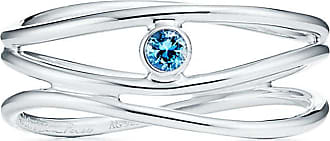 Tiffany & Co. Elsa Peretti Wave three-row ring in sterling silver with an aquamarine - Size 6 1/2