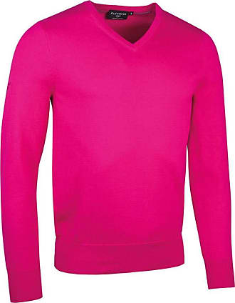 Glenmuir Mens MKC6884VN V Neck Cotton Golf Sweater Magenta L
