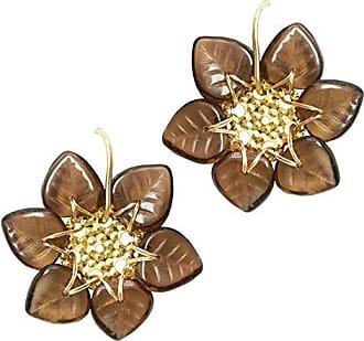 Tinna Jewelry Brinco Dourado Pétalas (Marrom)