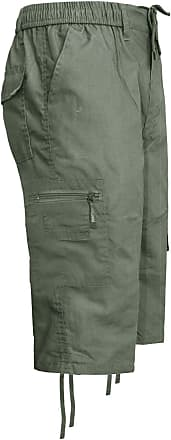 Generic Mens 3/4 Cargo Combat Pocket Elasticated Waist Shorts Summer Trousers Pant M-3XL[Olive,XXXL]