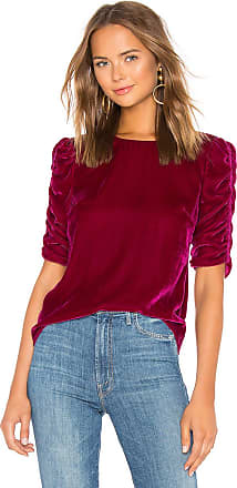 Rebecca Taylor Ruched Sleeve Velvet Top in Red