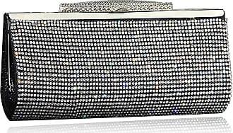 YYW Fashion Womens Glitter Clutch Bag Crystal Diamante Sparkly Silver Gold Black Evening Bridal Prom Party Handbag Purse