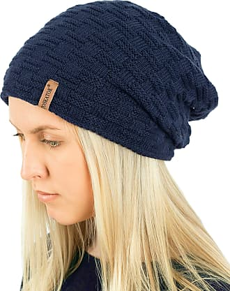 TOSKATOK Ladies Mens Unisex Warm Winter Textured Knit Slouch Beanie Hat with Cosy Faux Fur Teddy Fleece Liner-Navy