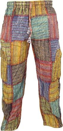 Gheri Little Kathamandu Cotton Patchwork Summer Casual Elastic Drawstring Trousers, Multicoloured, XXL