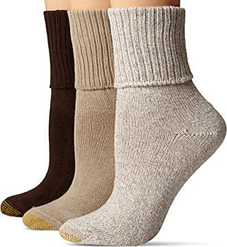 Gold Toe Womens 3-Pack Bermuda Turn Cuff Sock Brown Mix 9-11 (Shoe Size 6-9)